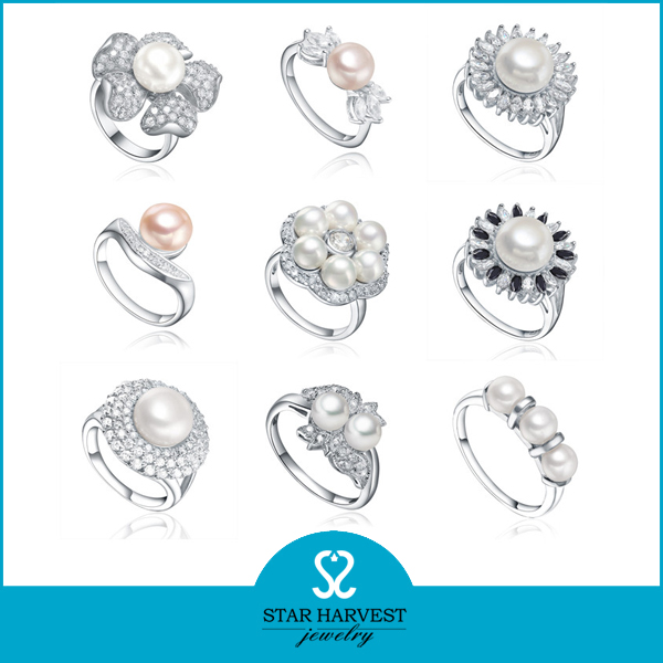 Trend Fresh Water Pearl Fashion Silver Jewelry Set (SH-R0093)