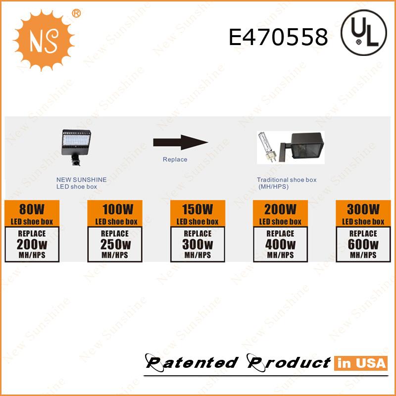 1000W Metal Halide Replacement IP65 Outdoor 300W LED Shoebox Lighting