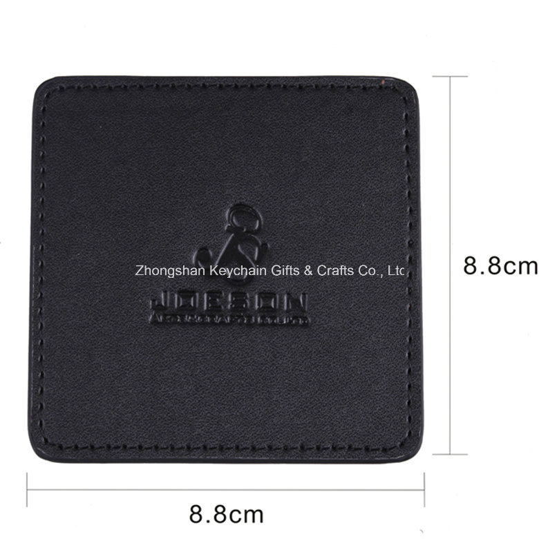 Custom Square Black PU Leather Coaster with Company Logo