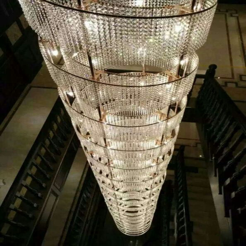 Gold Crystal Big Size and Modern pendant Lamp with Villa