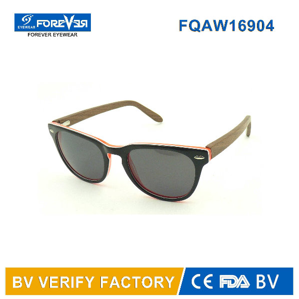 2016 Hot Sale Acetate Mixed with Wooden Temple Sunglasses Produced in Wenzhou