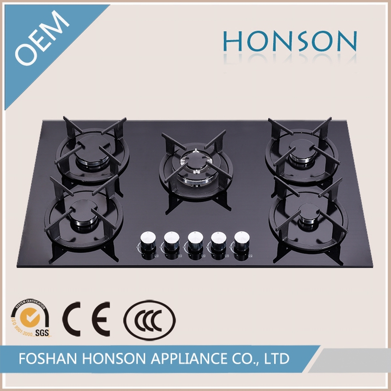 Wholesale Glass Top Built in 5 Burner Gas Stove Tops