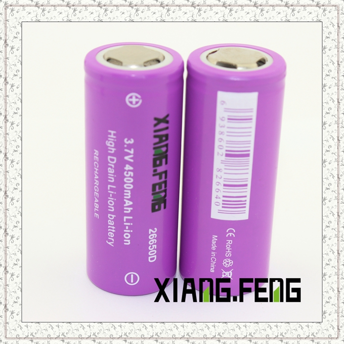 3.7V Xiangfeng 26650 4500mAh Icr Rechargeable Lithium Battery Batteries Rechargeable