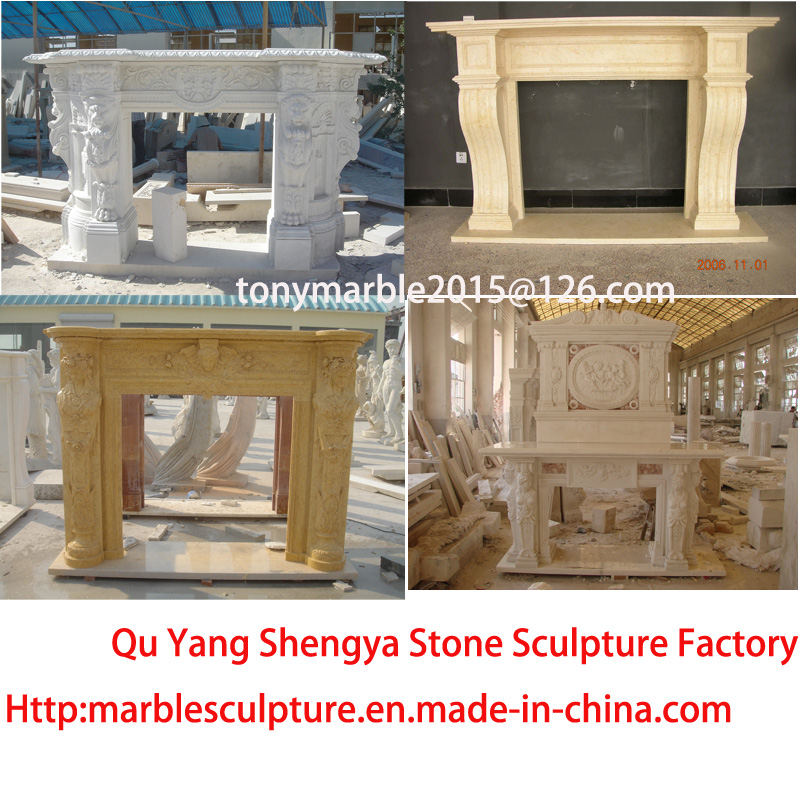 Beige Stone Carved Marble Fireplace Mantel Surround (SY-MF007)