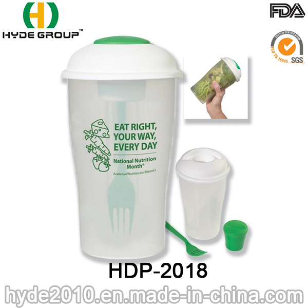 Practical Plastic Salad Container with Fork and Dressing Cup (HDP-2018)