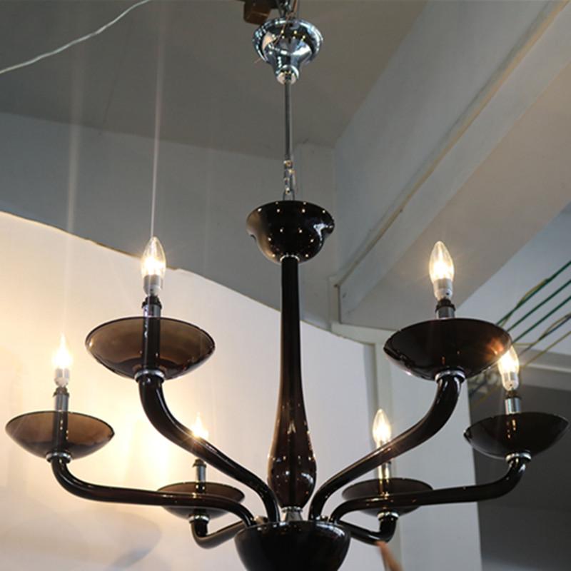Vintage Hotel Decorative Black Glass Candelabra Chandeliers