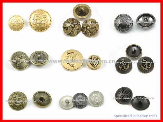 High Quality Pearl Gold Metal Mushroom Shank Button for Coat