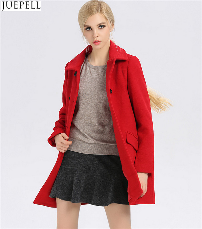 New Commuter Ladies Collar Thin 100% Wool Coat Women European and American Style Double Breasted Long Winter Coat