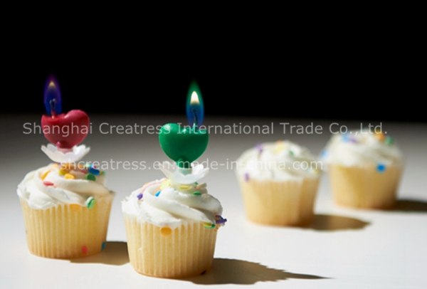 Heart Shaped Color Flame Candle for Birthday Cake