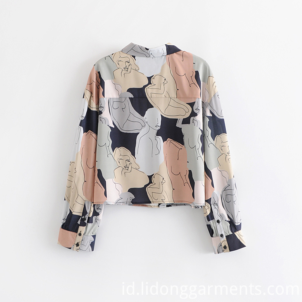 Button Up Digital Print Blouse