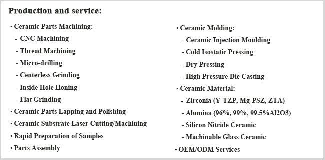Silicon Nitride Ceramic Product/Si3n4 Ceramic Parts Machining