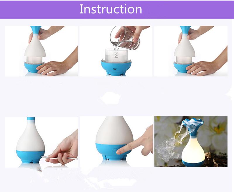 Unique Vase Humidifier LED Mini Ultrasonic Aroma Diffuser