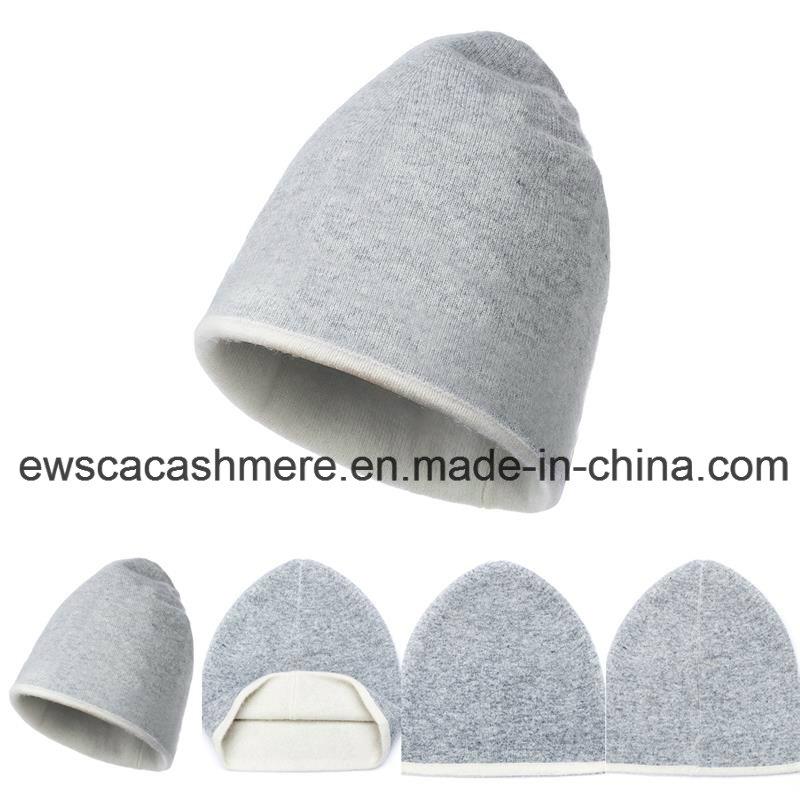 Lady's Double-Color Top Grade Pure Cashmere Hat A16wa2-001