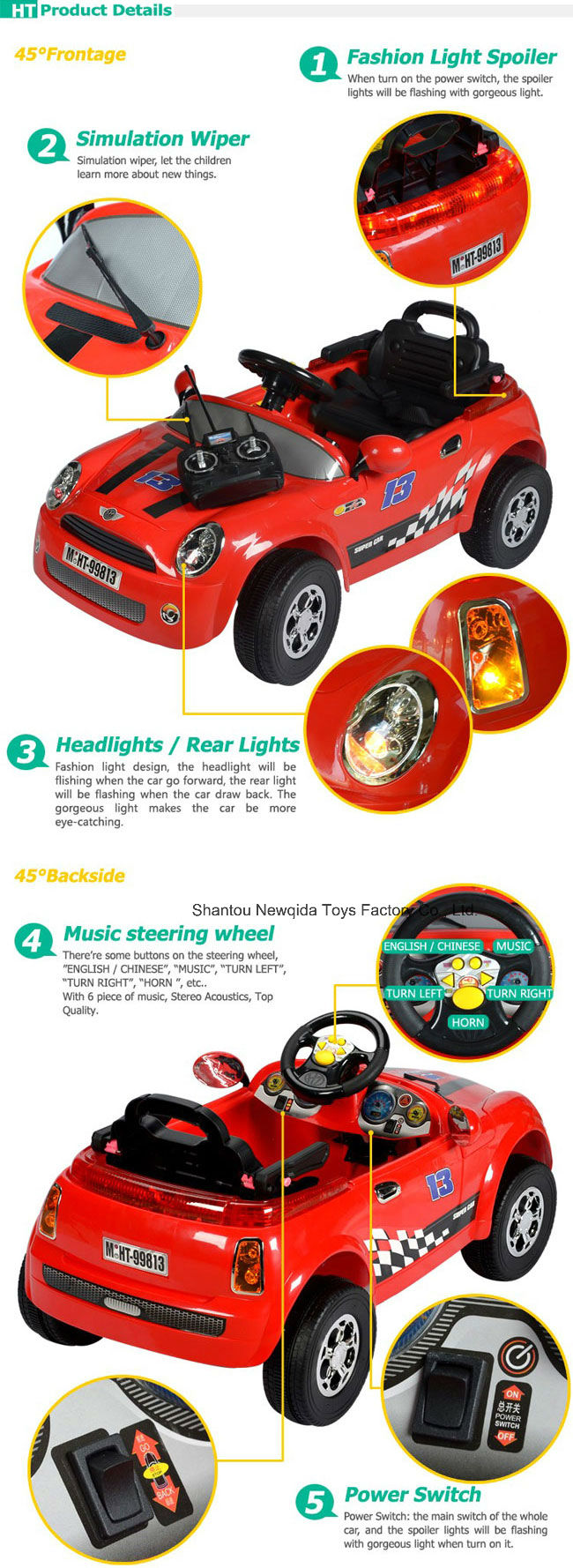 Red Kids Electric Toy Radio Control Ride on Car with Batter