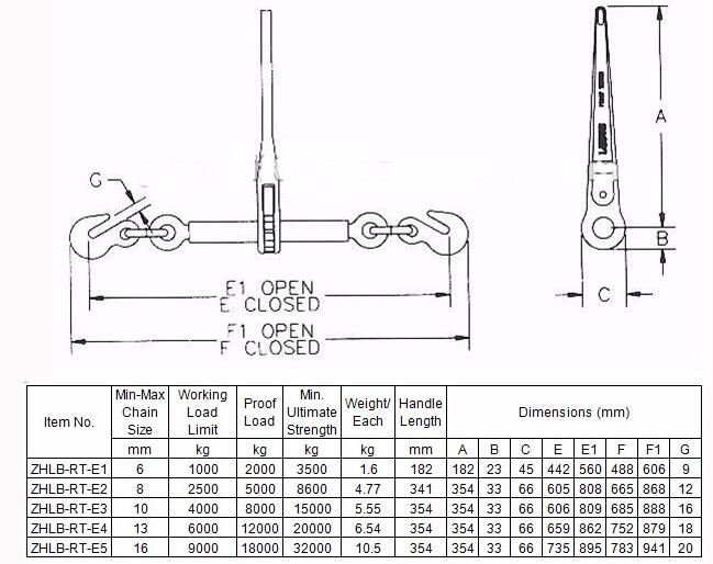 G80 Rachet Load Binder with Hooks