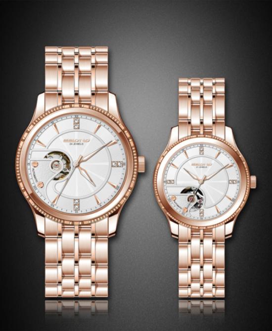 New Special Skeleton Dial with Diamond Fashion Couple Wrist Watch