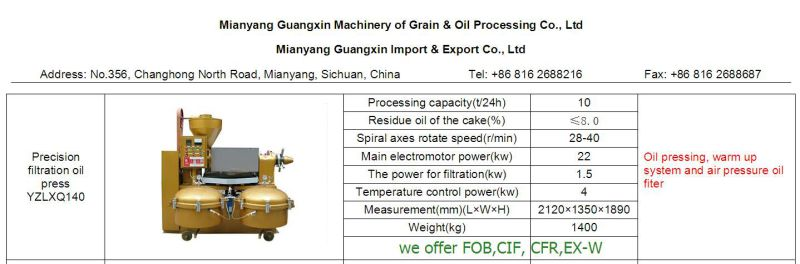 Cold Pressing Oil Extractor Plant Combined Oil Press Machine Yzlxq140