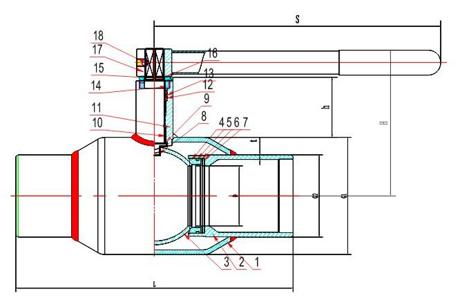 Standard Fully Welded Stainless Steel Ball Valve with GOST