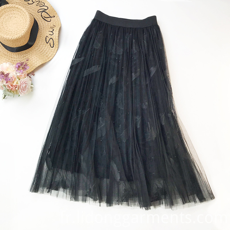 Skirts with Feathers Embroidery