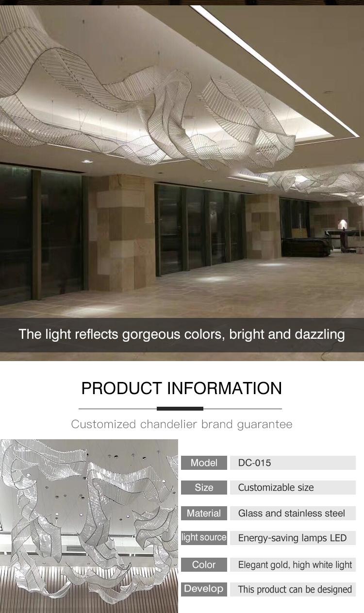 Décoration d'intérieur de centre commercial élégante suspension de lustre en acier inoxydable doré