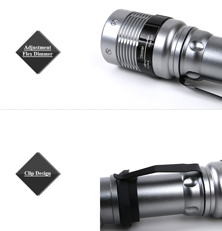 Rechargeable Zoom 18650 Battery Flashlight Outdoor Use