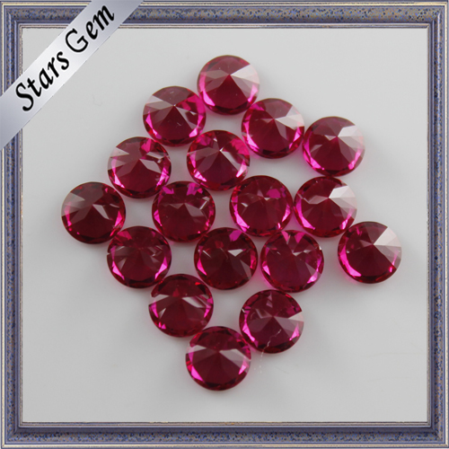 High Polished Synthetic Round Brilliant Cut Loose Ruby Gems Price for Royal Jewelry