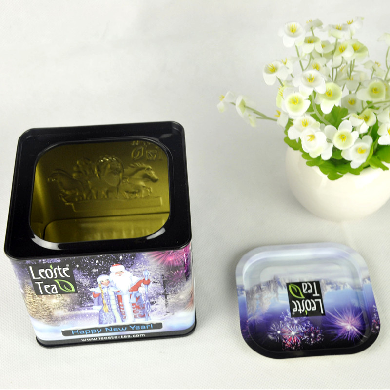Custom Made Square Metal Tea Tin Box with Airtight Lid
