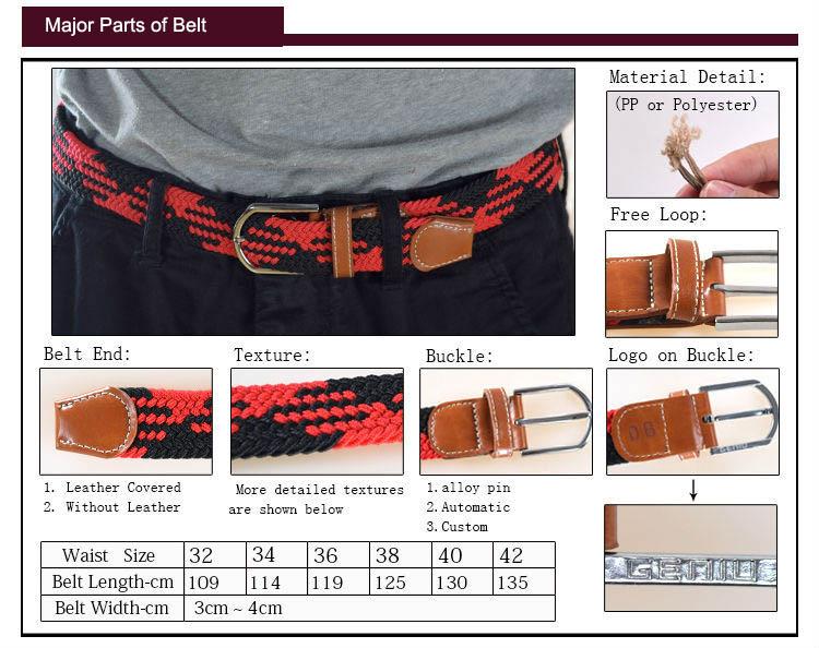 Luxury Polyester Braided Elastic Belt Woven Belts
