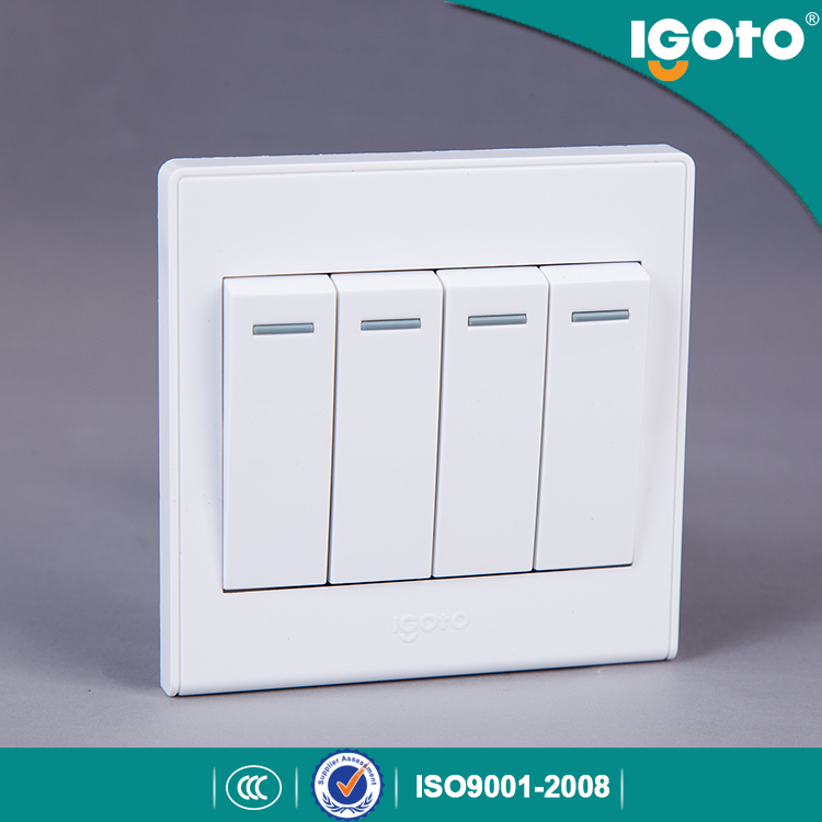 Igoto UK Standard 4 Gang 1way Wall Switch Use for Home