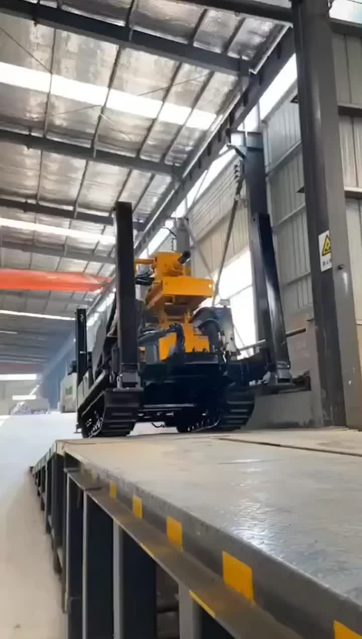 Our water well machine auto walk into container
