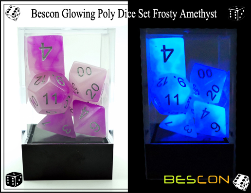 Bescon Glowing Poly Dice Set Frosty Amethyst-6