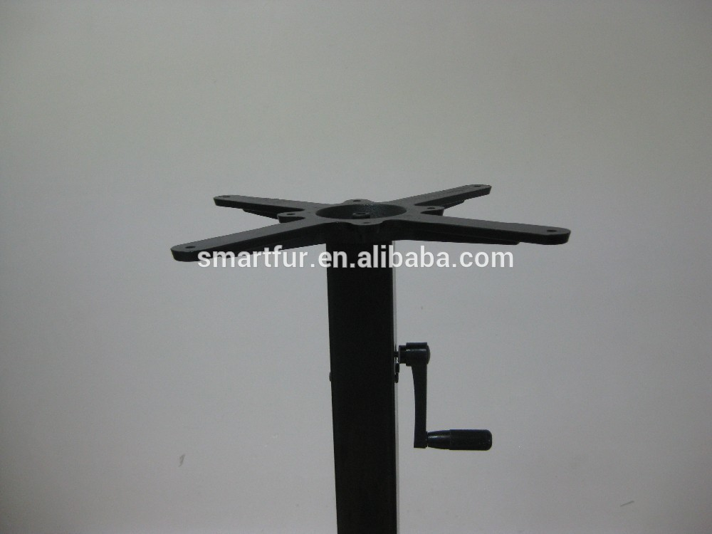 hand crank adjustable height bar metal table base