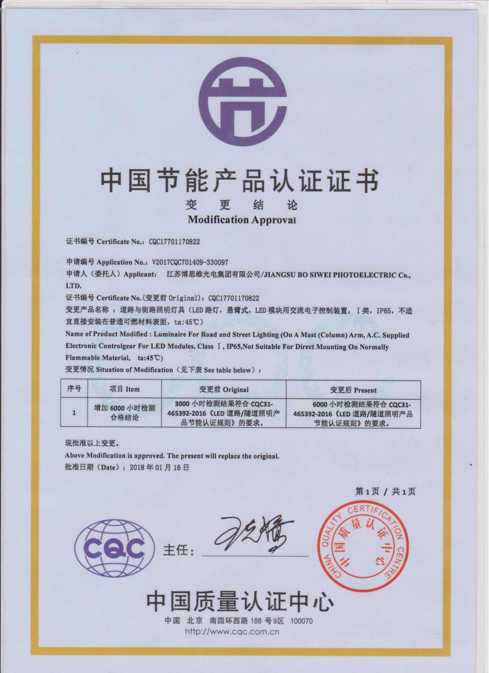 Energy-saving product certification