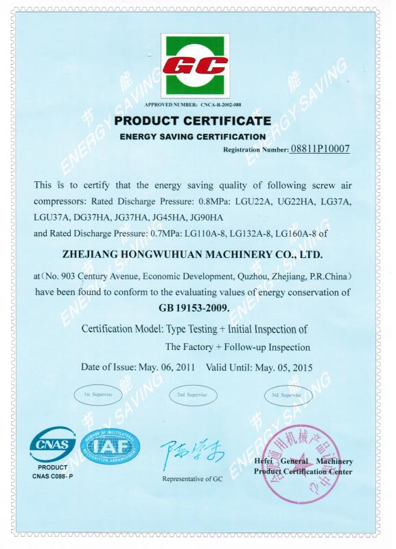GC Product Certificate Energy Saving Certificate