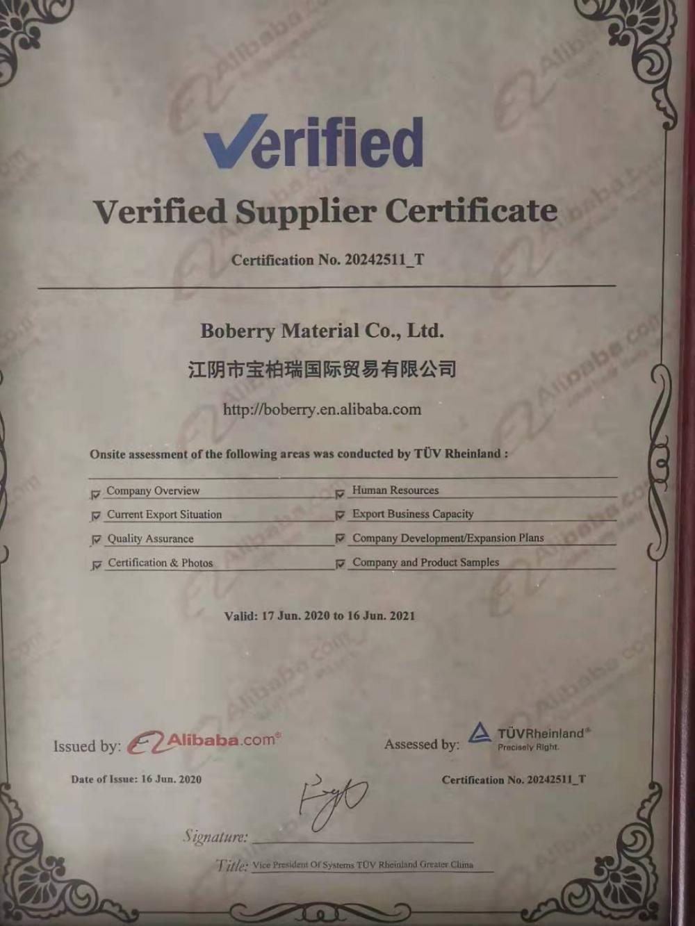 TUV verified supplier certificate
