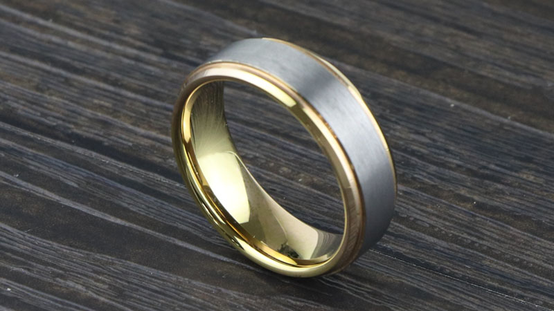 Silver and gold tungsten carbide ring