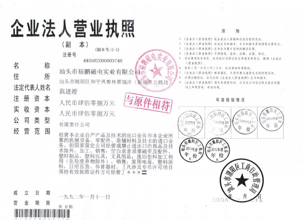 industries and commercial registration certificate