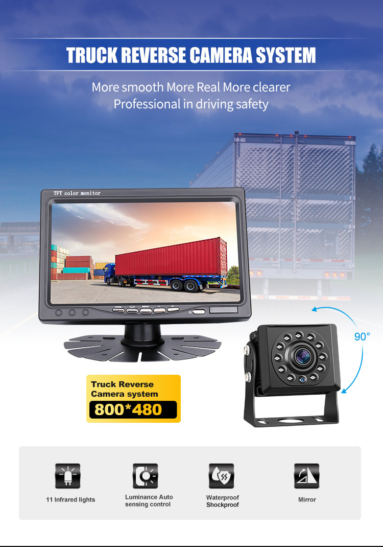 Vehicle Wired AHD 1080P IPS 7 inch monitor with wide view Waterproof night vision reverse camera reverse truck car camera kit
