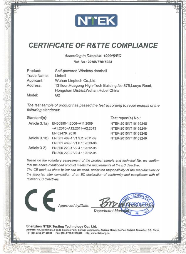 CERTIFICATE OF R&TTE COMPLIANCE