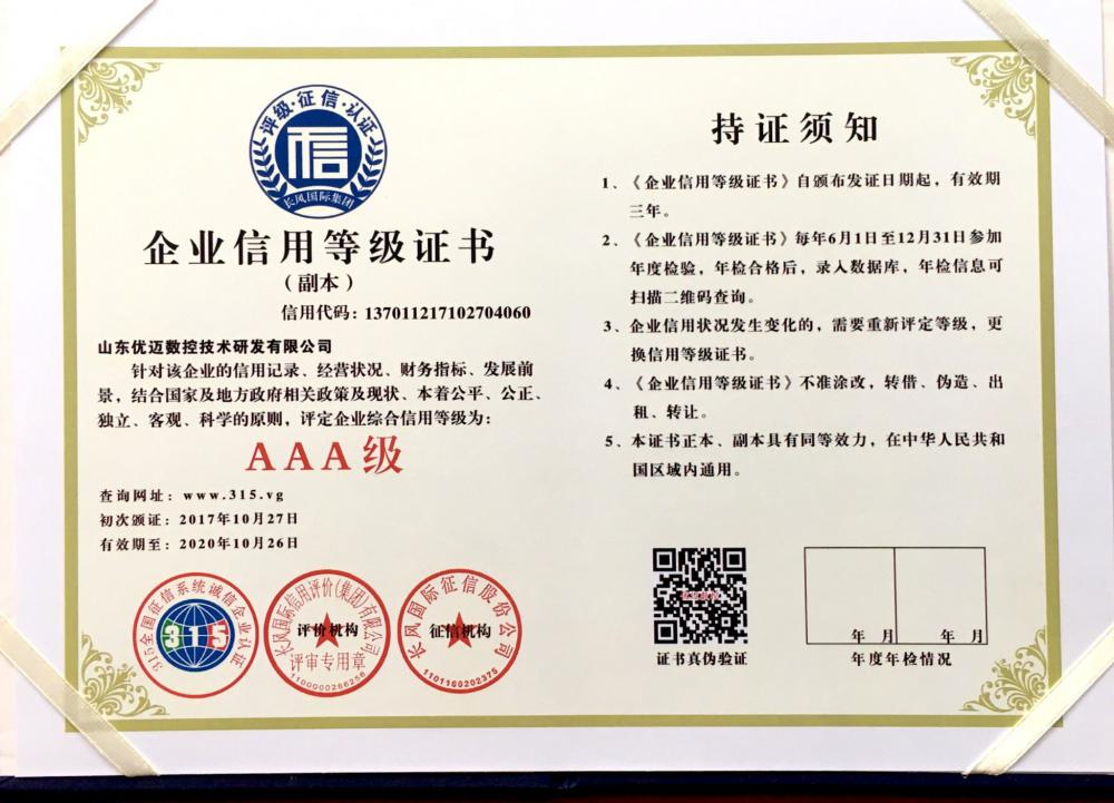Corporate Credit Rating Certificate