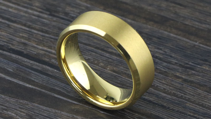 Womens Gold Plated Tungsten Carbide Wedding Band