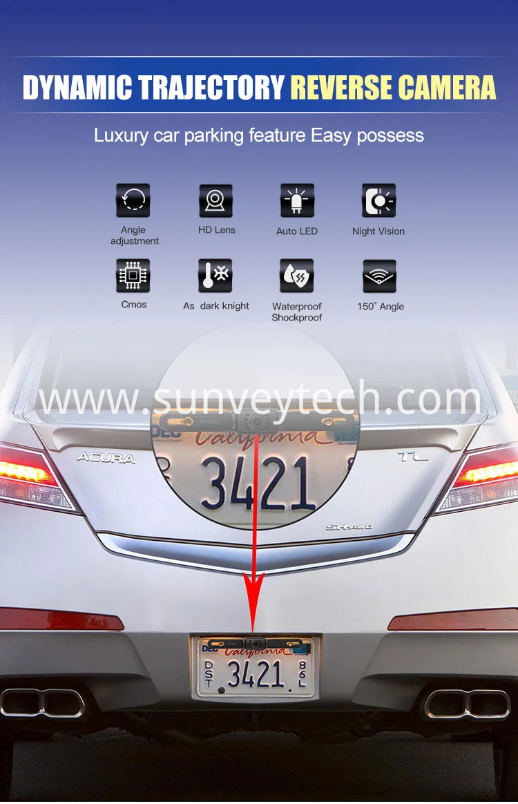 Wired License Plate Backup Camera Night Vision Parking Assist Rear View Mirror Backup Camera