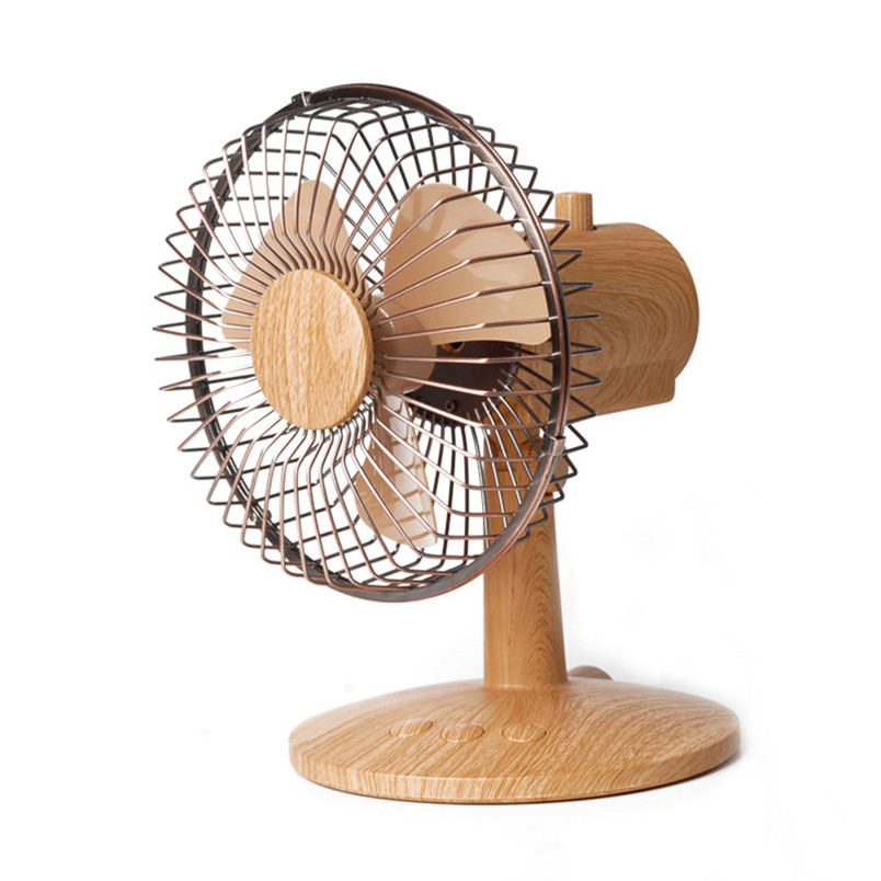 Classic wooden grain usb table fan for sale