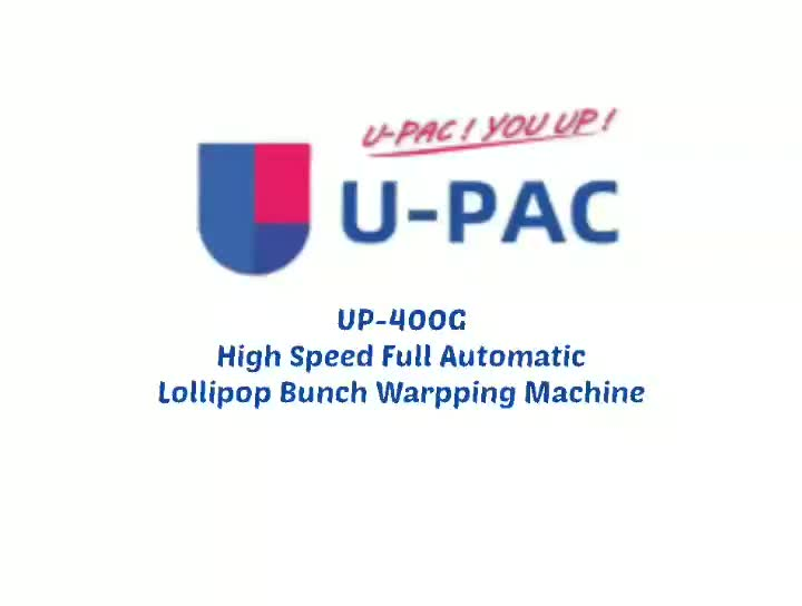 UP-400G Lollipop packing machine for 32mm lollipop.mp4