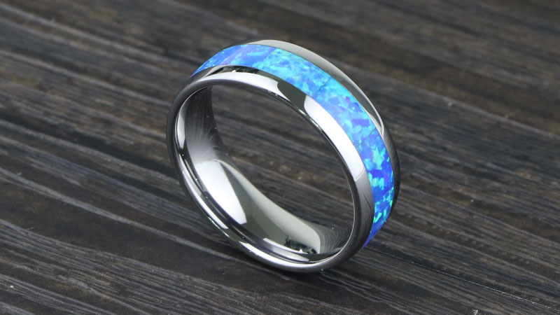 Opal Inlay Tungsten Carbide Ring For Wedding