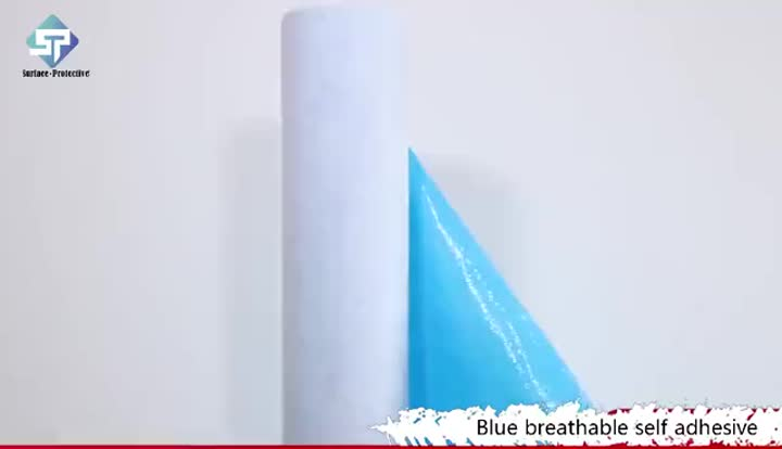surface protective-blue breathable self adhesive floor prontection mat.mp4