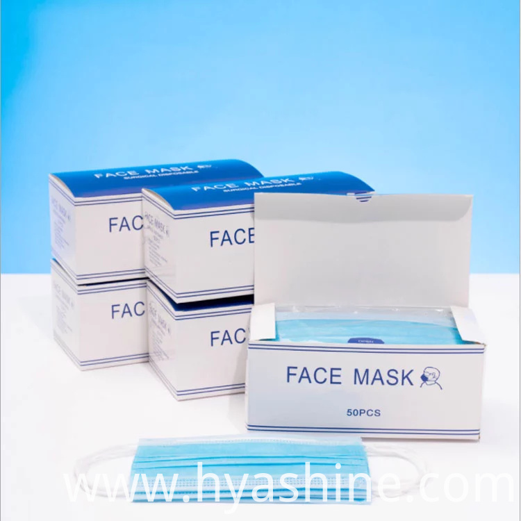 Portable 3 Ply Disposable Masks Non-woven Face Mask With Elastic Earloops