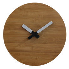 Reloj de pared de madera de bambú natural con luz LED.