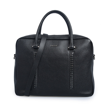 Shorty Flat Top Zippered Tote Office Bag Black