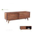 Solid Wood Madilim Walnut TV Stand Sliding Doors